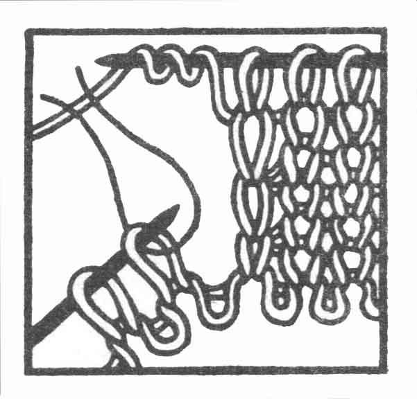 Рис. 3. Вязание петель для пуговиц. Вертикальная петля. Первый способ