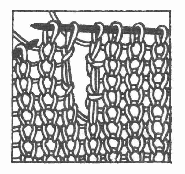 Рис. 4. Вязание петель для пуговиц. Вертикальная петля. Второй способ
